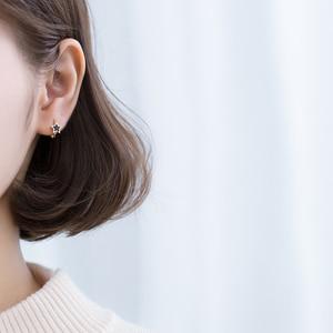 Image 3 - Modian noir émail étoiles bijoux pour fille et femmes exquise couleur or 925 en argent Sterling mode pentagramme boucles doreilles