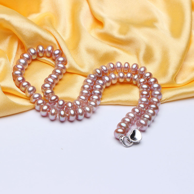 HENGSHENG 8-9mm Freshwater  Pearl Necklaces For Women, Heart Jewelry Pendants Bread Round Necklace