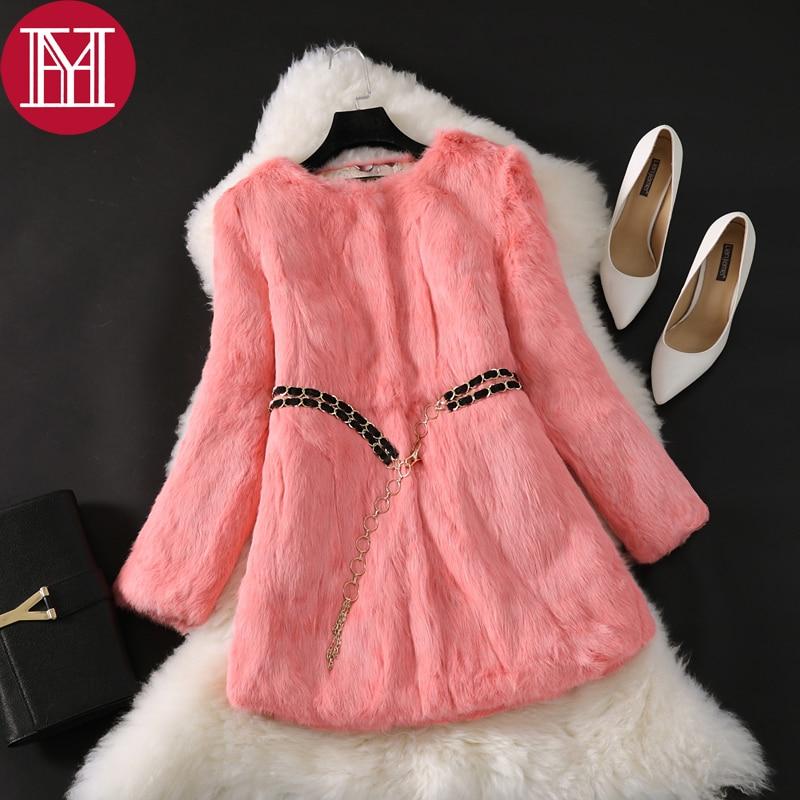Natural Real Rabbit Fur Long Coat 2017 New Winter Real Rabbit Fur Jacket Korean Female Three