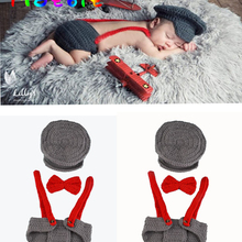 Hot Crochet Pilot Infant Boys Photo Props Knitted Aviator Costume for Boys Photo SHoot Newborn Coming Home Outfit 0-6M MZS-15039