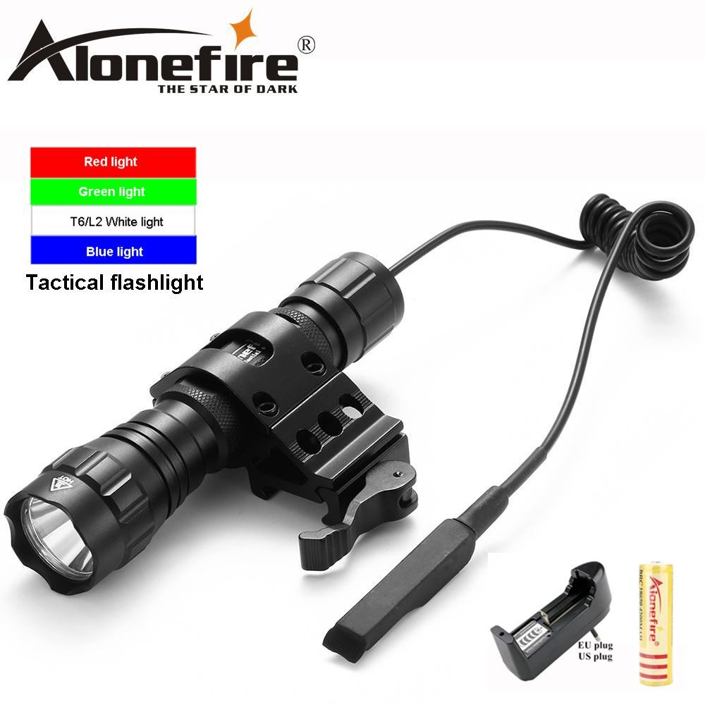 AloneFire 501Bs Cree XML Hunting Tactical Flashlight Weapon mounted lights with Switch+Universal Barrel Mount
