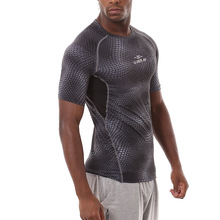 Detector Men Sport Fitness Bodybuilding Gym T-shirt Men  Compression Tights Running Basketball Crossfit Under Tee Tops