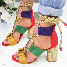 Women Sandals Lace Up Summer Shoes Woman Heels Sand