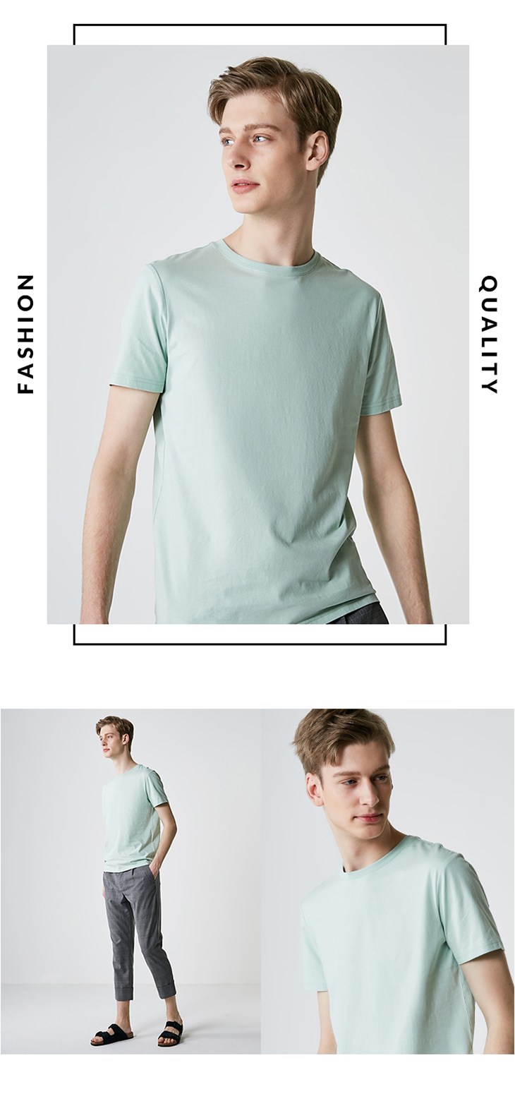 Men's Summer 100% Cotton Pure Color Round Neckline Short-sleeved T-shirt 30