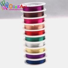 Olingart 0.2-1.0mm de alta qualidade fio de cobre multicolorido chapeamento frisado fio jóias descoberta diy jóias acessórios linha/corda
