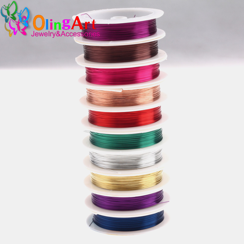 цена на OlingArt 0.3MM 20M/Roll Copper Wire mixed multicolor plated Beading Wire Jewelry Findings DIY Jewelry Accessories Cord/String
