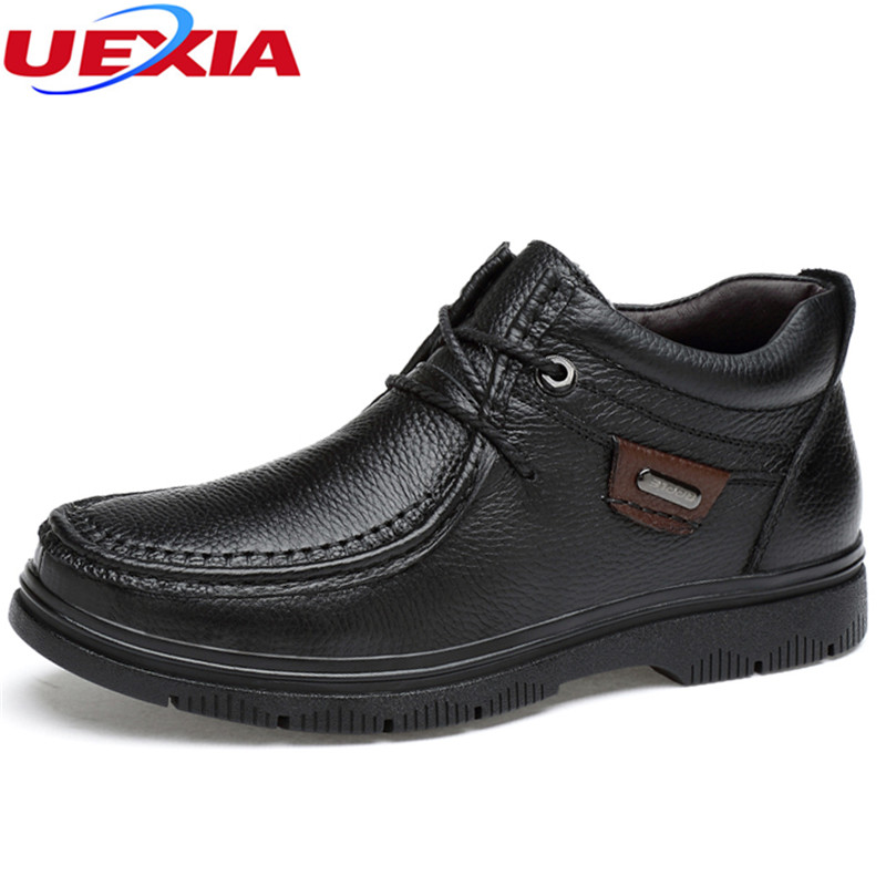 UEXIA High Quality New Fashion Winter Boots Men Snow Warm Wool High Top Leather Winter Footwear Warm Furry Fashion Big Size 47 warm winter fashion men hat