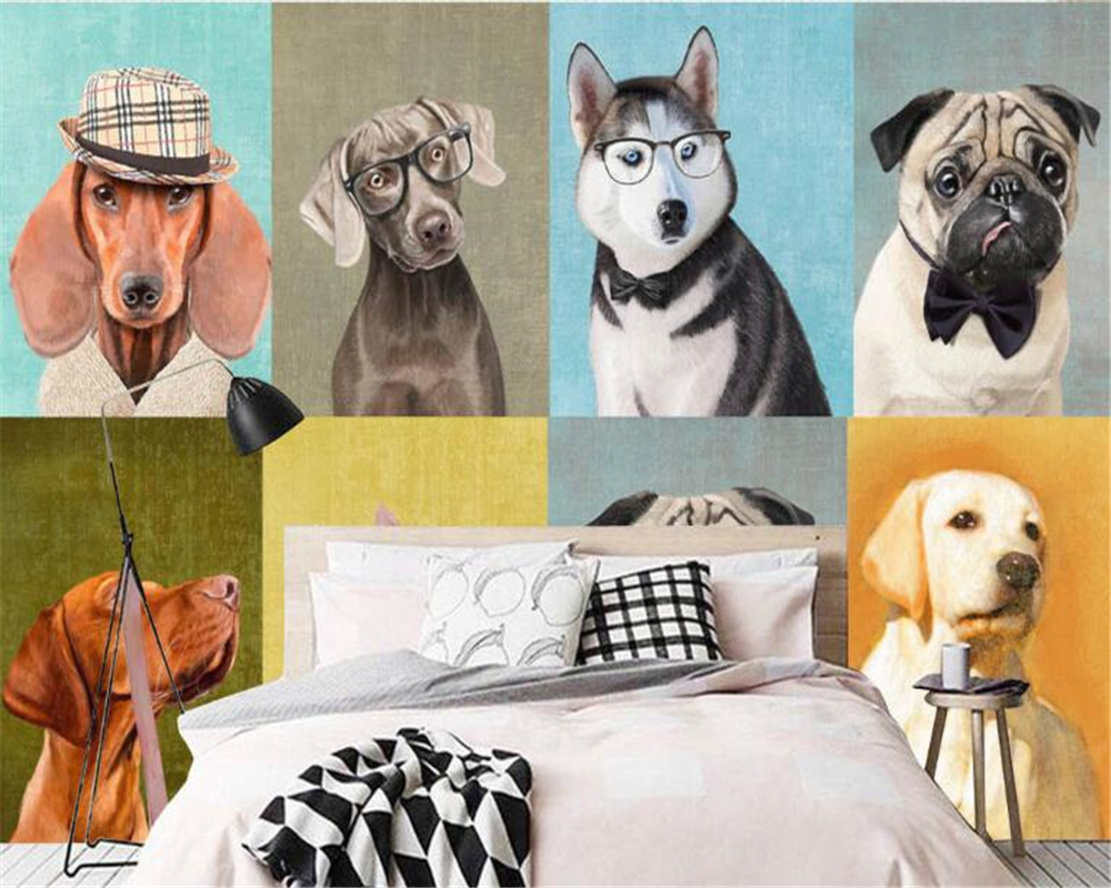 beibehang behang papel de parede Modern European and American hand-painted oil painting puppy wallpaper pet shop background wall art hand painted modern abstract colorful oil painting page 8