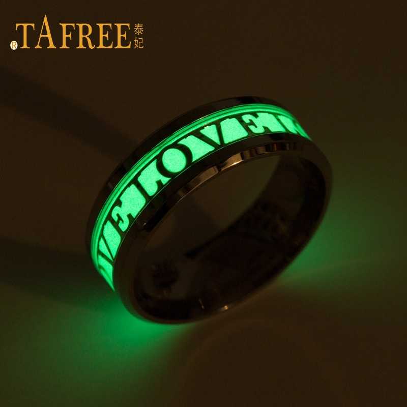 TAFREE Simple LOVE letters glowing ring for couple ring Men and women couple birthday ring R30064