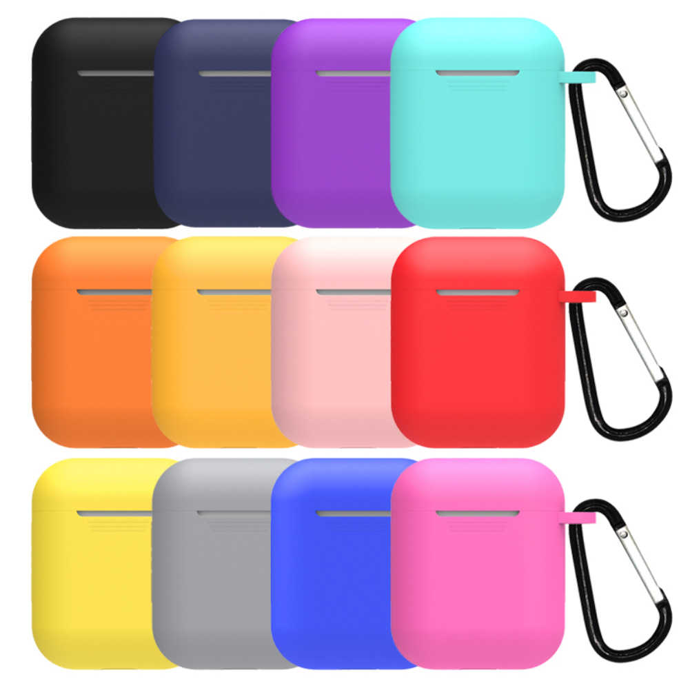 Case Silicone Cover Bluetooth Wireless Headphones for airpods for IPhone Protective Case Hanging Buckle Earphone Accessory