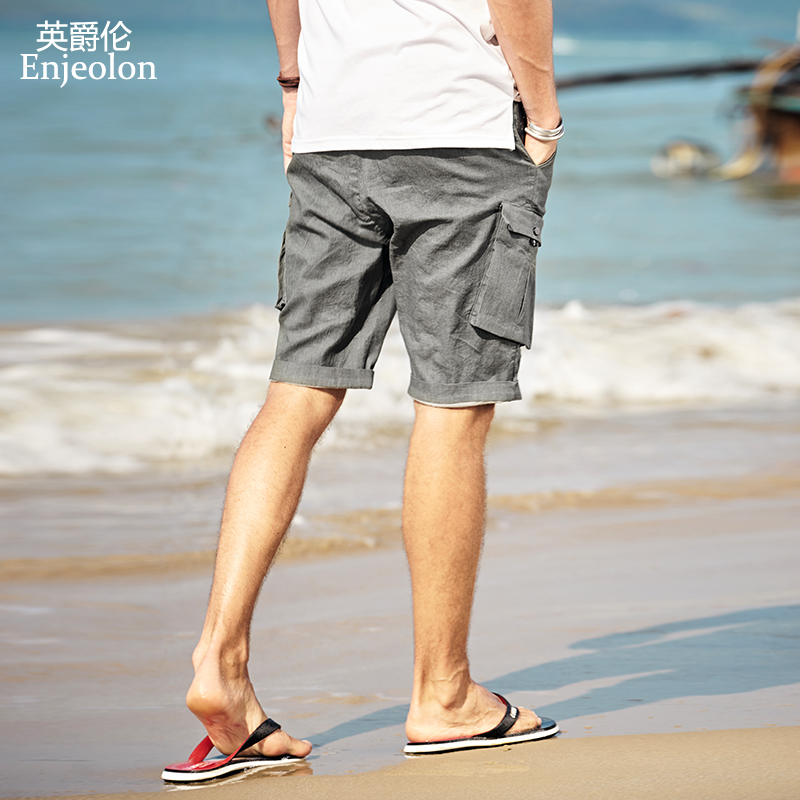 Enjeolon Summer Cool Casual Jeans Shorts Men Cotton Solid Shorts Male Available Knee Length Casual Pocket Jeans Short K6430