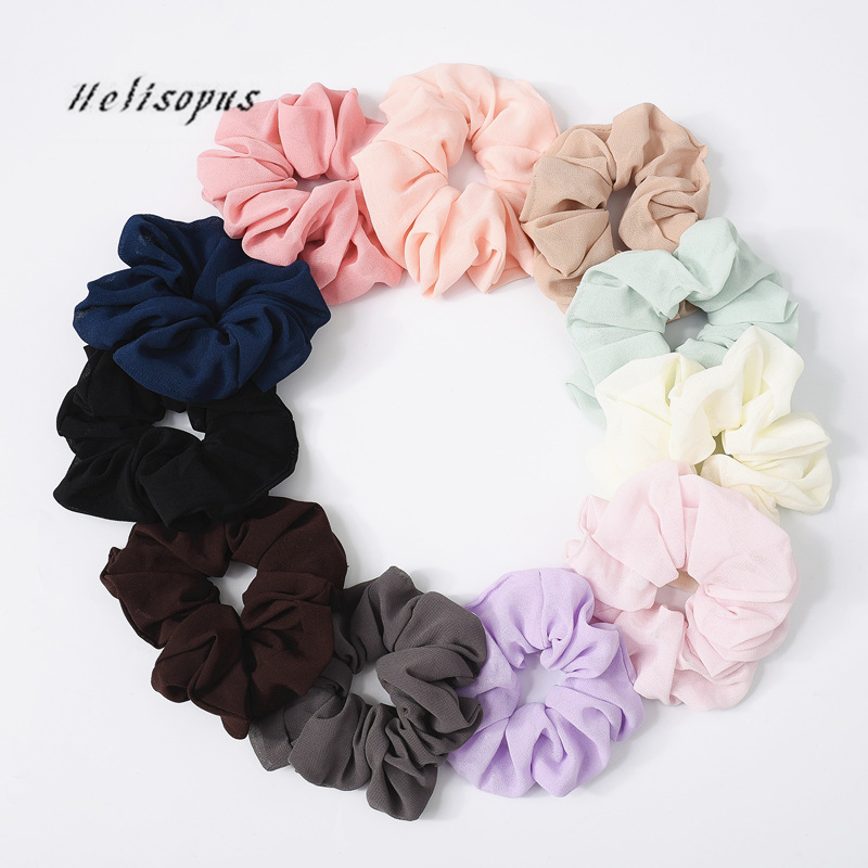 Helisopus New Bobble Hair Rope Simple Pure Color Elastic Headband Women Hair Scrunchie Ponytail Holder Women Hair Accessories