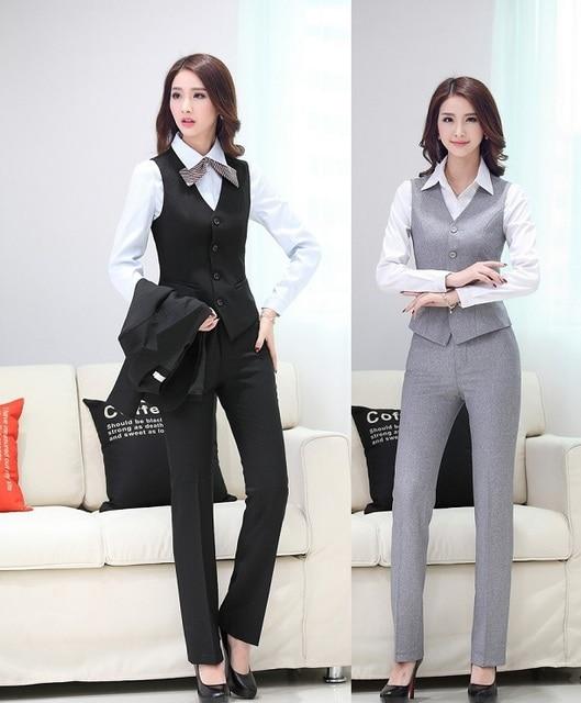 8a0d62a371f New Uniform Design Spring Summer Professional Business Suits Vest + Pants  For Women Blazers Ladies Office Trouser Set Plus Size