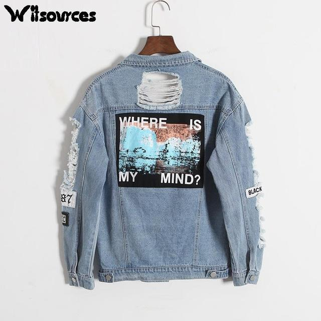 Witsources Women Vintage Ripped Holes Denim Jackets Autumn New Boyfriend Style Print Patch Casual Jeans Outwear