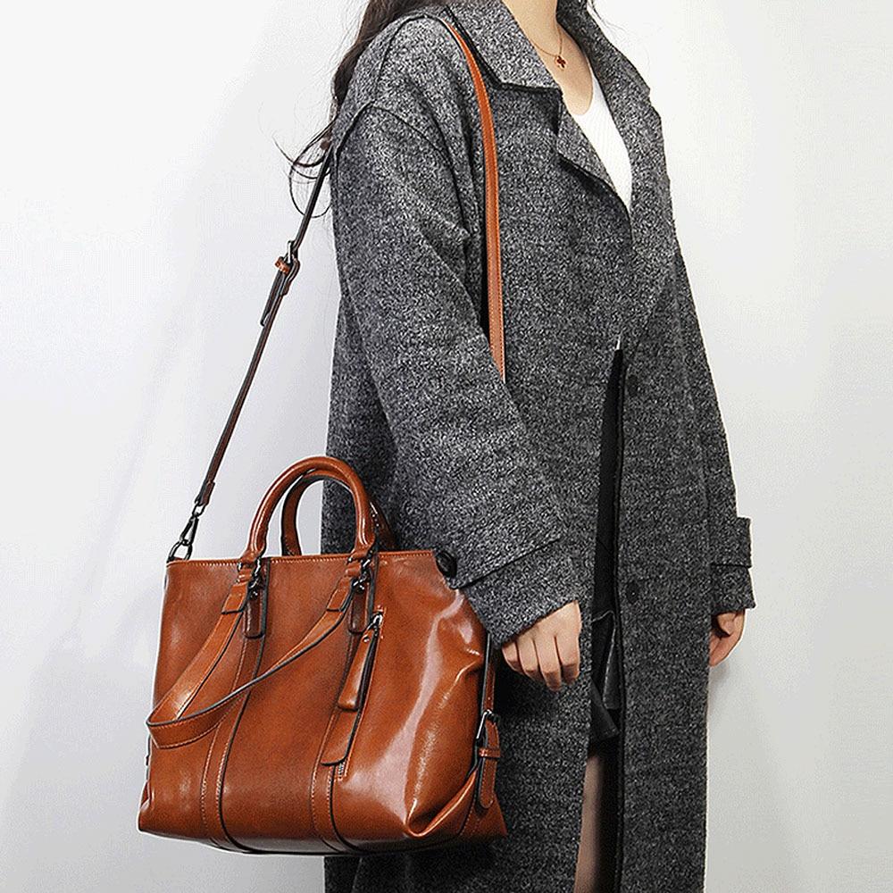 Zency Retro สีน้ำตาลกระเป๋าถือสตรี 100% ของแท้หนัง Casual กระเป๋าถือขนาดใหญ่ความจุกระเป๋า Elegant Crossbody ไหล่กระเป๋า-ใน กระเป๋าหูหิ้วด้านบน จาก สัมภาระและกระเป๋า บน   2