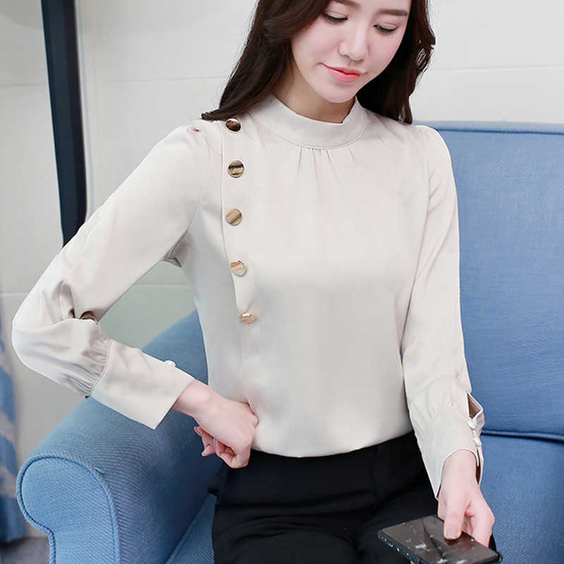 3ccb3d51859 ... 2019 Spring Korean Style Chiffon Blouse Female Long Sleeved Tops Shirt  Femininas Formal Ladies Tops Office ...