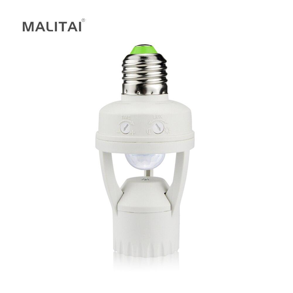 Smart 110 V-240 V 60 W PIR Induction Infrarouge Motion Sensor E27 LED Base de la lampe Titulaire Avec la lumière contrôle Interrupteur Ampoule Socket Adaptateur