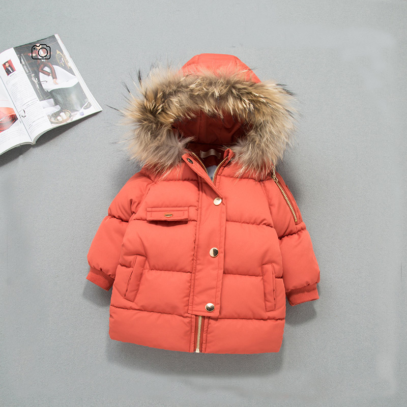 Rlyaeiz New 2018 Fashion Children Winter Jacket Coat Girls Boys Warm Thick Fur Collar Hooded Down Parka Coats For Kids Age 2-9Y 2017 new fashion boys winter jacket cotton coat children parka detachable faux fur hooded collar long style army green red black
