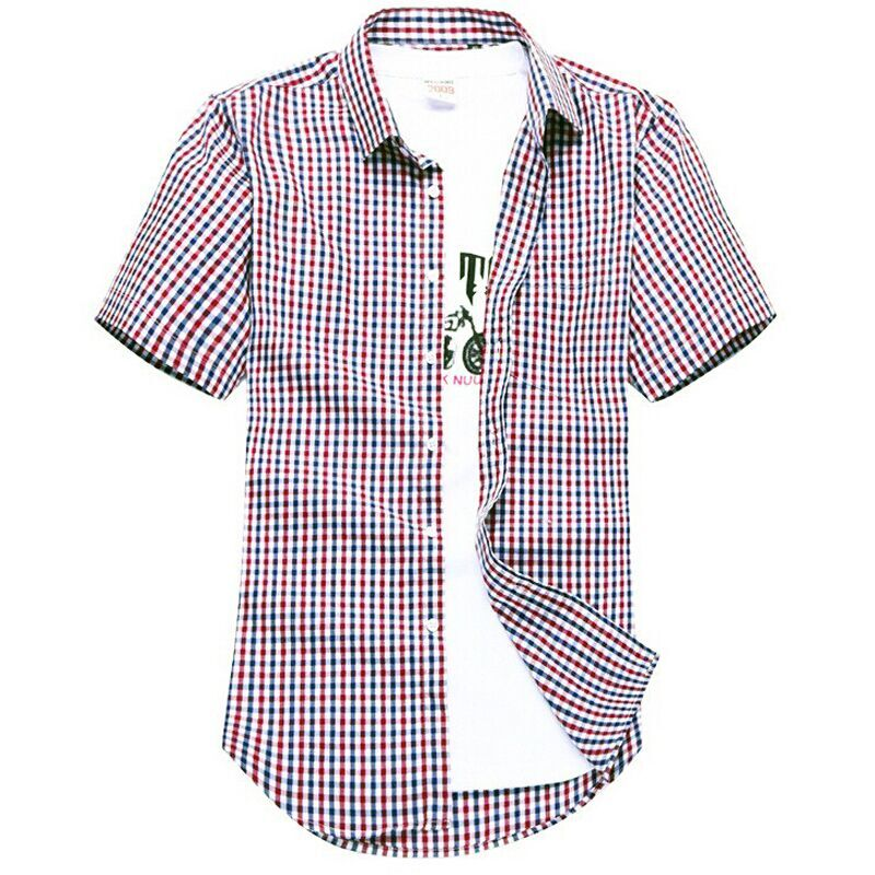 Men 39 s short sleeved plaid shirt summer new fashion england Short sleeve plaid shirts