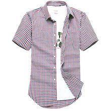 Для мужчин с короткими рукавами рубашка в клетку летняя новая мода Англия рубашка Мужская Slim Fit повседневные рубашки с коротким рукавом мужской