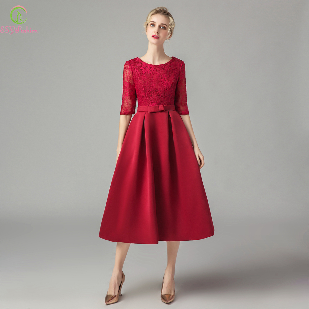 SSYFashion New Mother of The Brides Dresses Banquet Elegant Burgundy Lace Satin Half Sleeve Tea length