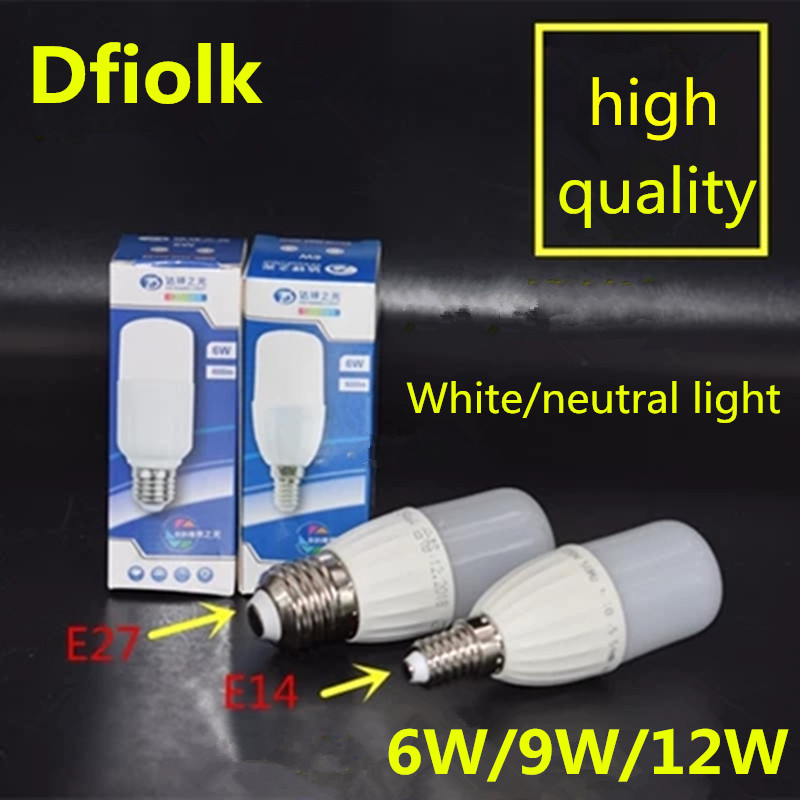 New LED Cylindrical Bulb 6w9w12W E27 Large Screw E14 Small Screw 110V 220V Neutral Light Cold White LED Super Bright Bulb