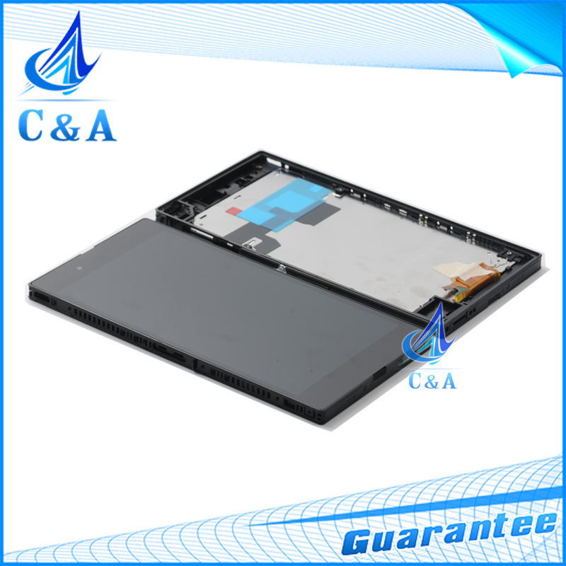 5 pcs DHL/EMS post black tested screen for Sony Xperia Z Ultra XL39h LT39i C6802 C6833 lcd display touch digitizer with frame