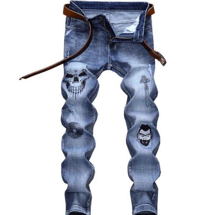 European American Style men Denim jeans famous brand straight skull pattern zipper slim brand blue jeans Pencil Pants for men