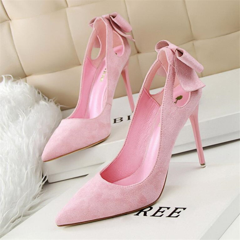 2017 New  Spring Summer Women Pumps Sweet Cute Bow Thin High Heels Shoes Suede High-heeled Pointed Hollow Sandals Elegant new spring summer elegant pumps fashion sexy slim thin metal heel shallow mouth pointed sweet bow suede high heeled shoes g395 2