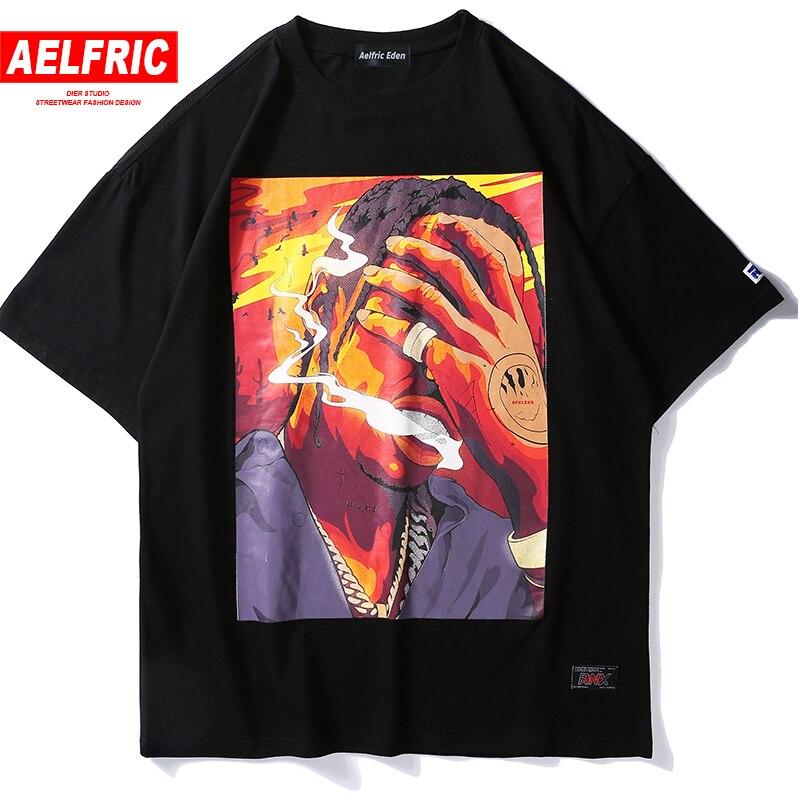 Aelfric Eden Hip Hop Fumatori Stampato T Camicette 2018 Hip Hop Casual Cotone Magliette e camicette Magliette Degli Uomini di Estate Streetwear Skateboard Tshirt RN02