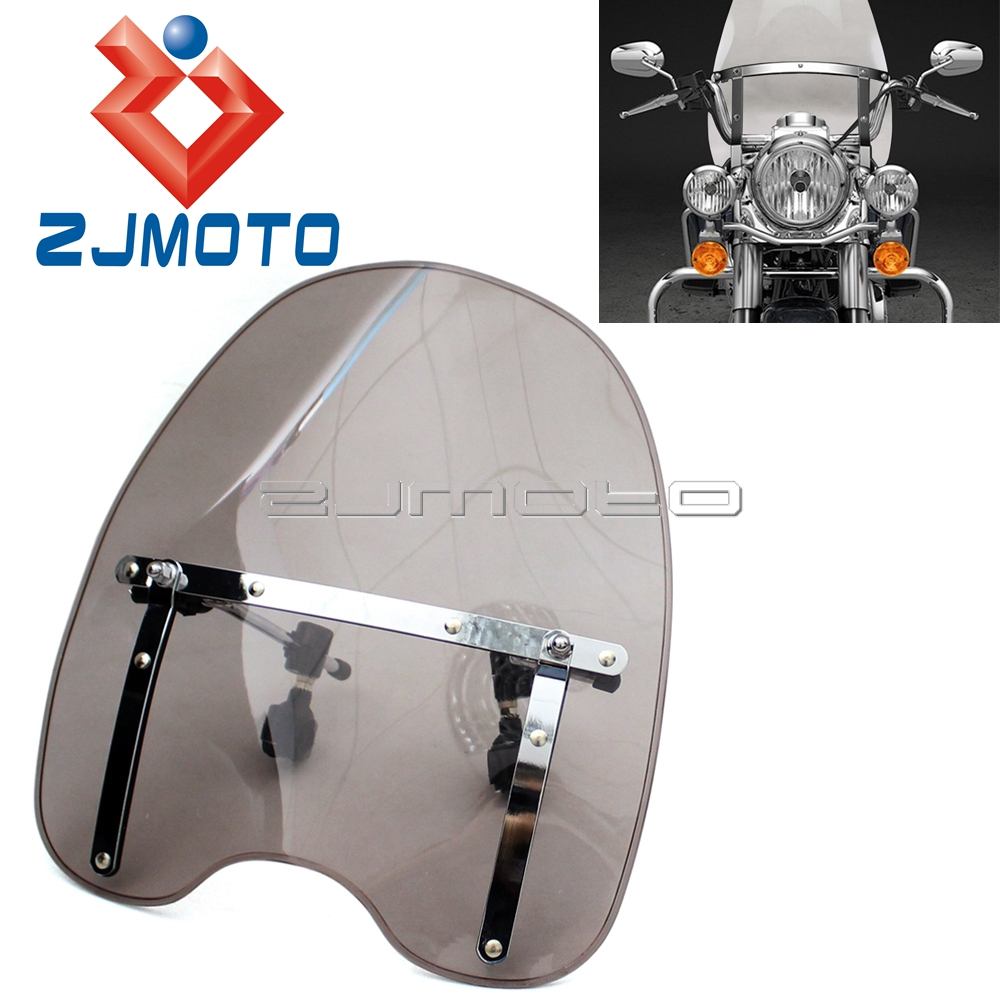 Universal Motorcycle Windshield Windscreen For Harley Honda Yamaha Shadow RS ACE Aero Spirit 750 1100 V-Max 1200 V-Star 650 Лобовое стекло