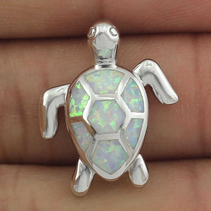 HAIMIS Бесплатная Цепочка Бесплатная подарочная коробка милый BlueFire опал SeaTurtle дизайн кулон ожерелье для женщин OP408