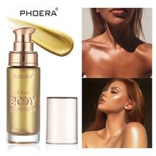 PHOERA тело мерцающий осветитель жидкий текстовый маркер светящийся набор макияж для лица бронзант, контур макияж Лето осветляет кожу женщин