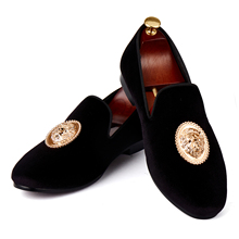 1c0fc850d0d Harpelunde Men Flats Animal Buckle Dress Shoes Black Velvet Loafers Prince  Albert Slippers Size 6-