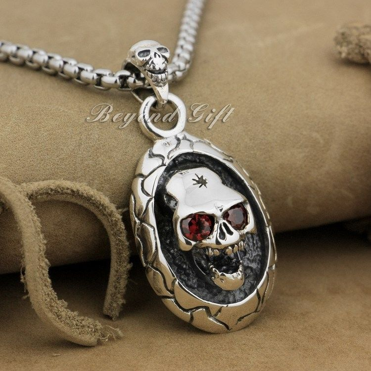 Brand LINSION Huge Heavy 925 Sterling Silver Red CZ Stone Skull Mens Pendant Biker Jewelry 9R005(Necklace 24inch) solid 925 sterling silver skull mens biker pendant 8c011 with matching stainless steel necklace