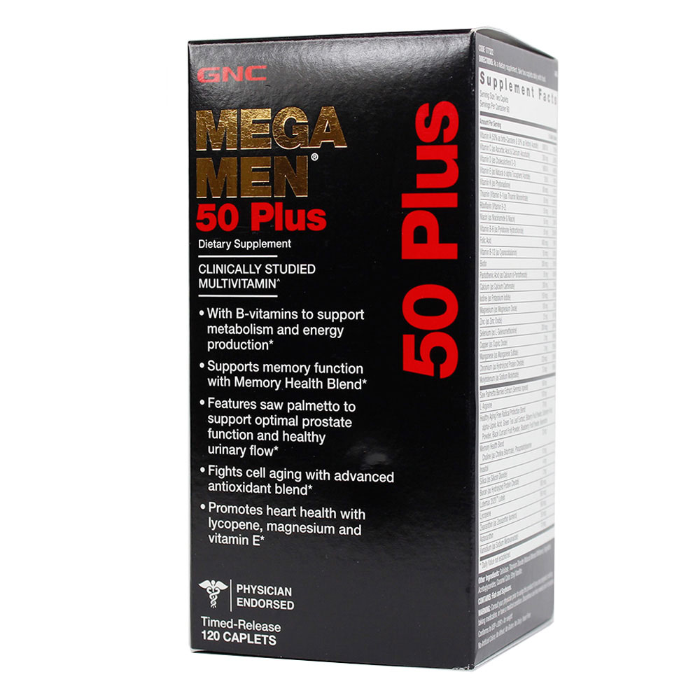 Free shipping Mega Men 50 Plus dietary supplement 120 Caplets gnc women s ultra mega active without iron 90 caplets free shipping u s a original imported