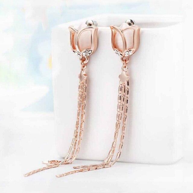 Fashion fine jewelry 925 silver needles Long earrings for women Opal crystal tulip flower tassel earrings bride brincos longos