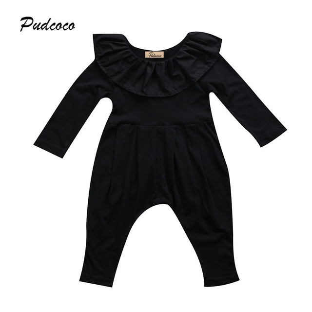 e77b887f9dfe Black Newborn Baby Girl Romper 2017 Princess Kids Girls Long Sleeve Cape  Collar Toddler Kids Jumpsuit Playsuit Outfit Clothing