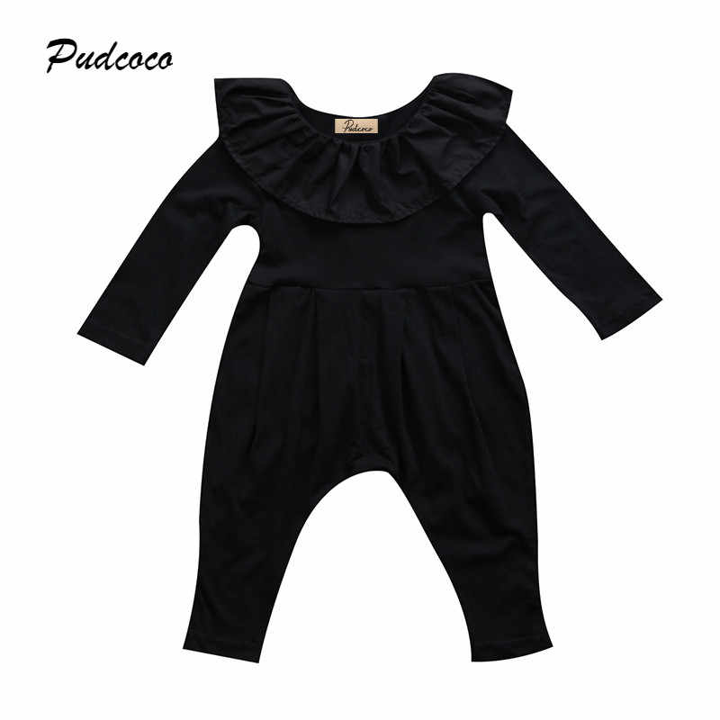 332033c7d35 Black Newborn Baby Girl Romper 2017 Princess Kids Girls Long Sleeve Cape  Collar Toddler Kids Jumpsuit