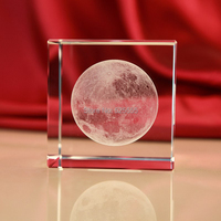 Free shipping unique design crystal 3D laser moon cube paperweight as art collection for home bar table decoration