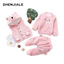 Children Clothing Set Winter 2018 Warm Girls clothing suit / Hooded Jacket +Sweatshirt + trousers /3pcs Kids Christmas Clothes