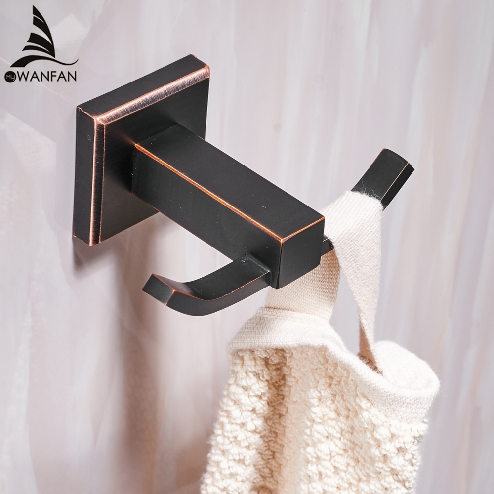 US $9.9 9% OFFRobe Hooks Modern Style Copper Black Bathroom Hangings  Black Towel Rack Clothes Hook Home Decoration Bathroom Hardware WF