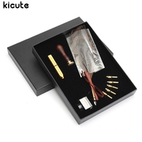 Kicute Vintage Peacock Feather Quill Dip Pen Writing Ink Fountain Pens With 5 Pcs Pen Tips