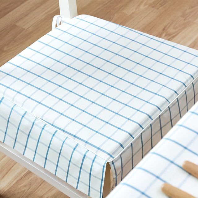 Nordic Blue/white Plaid Polyester Non Slip Chair Pads Yarn Dyed Washable  With