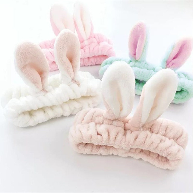 Cute Elastic Cat Ears Headbands for Women Girls Makeup Face Washing Headband Hairdo Facial Mask Headwrap Hairband Hair Accessory