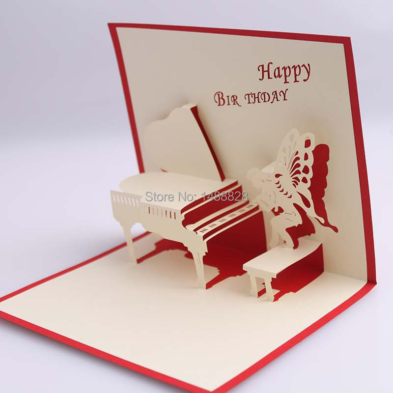 Online Shop Play the piano 3D Paper greeting Christmas card – 3d Valentine Cards