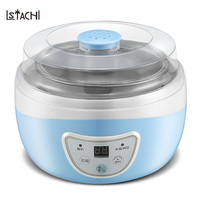 LSTACHi Free Shipping 1L Microcomputer Yogurt Maker Fermendtation Stainless Steel Glass Tanks Machine in Kitchen Appliances