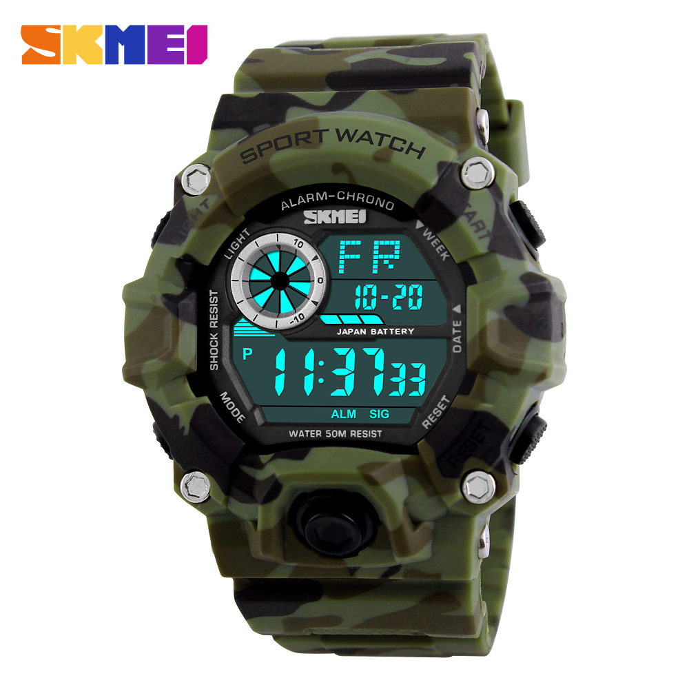 Brand New <font><b>SKMEI</b></font> 2019 Army Camouflage military watch reloj led digital sports watches relogio masculino esportivo shock clock image