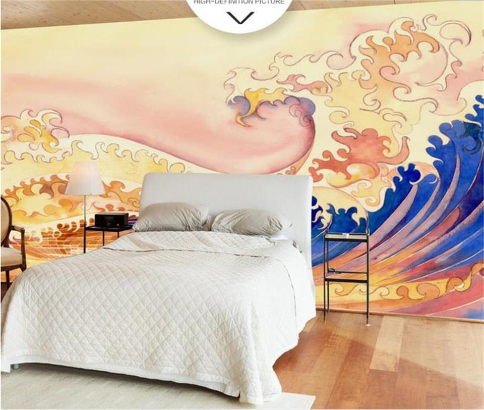 custom size 3d photo wallpaper bedding room mural Japanese style gold wave 3d painting sofa TV background wallpaper for walls 3d book knowledge power channel creative 3d large mural wallpaper 3d bedroom living room tv backdrop painting wallpaper