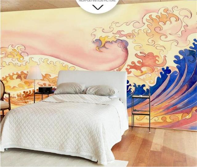 Us 15 65 49 Off Custom Size 3d Photo Wallpaper Bedding Room Mural Japanese Style Gold Wave 3d Painting Sofa Tv Background Wallpaper For Walls 3d In